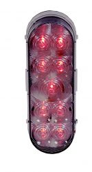 "9 LED 6"" OVAL RED CLEAR LENS S/T/T"